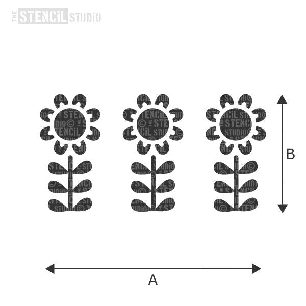 Marjorie Flower Row Stencil from The Stencil Studio - choose size from the dropdown box