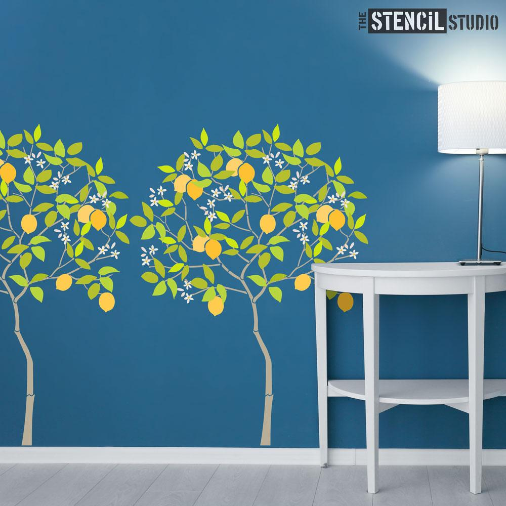 Round Tree with Lemons Stencil Pack