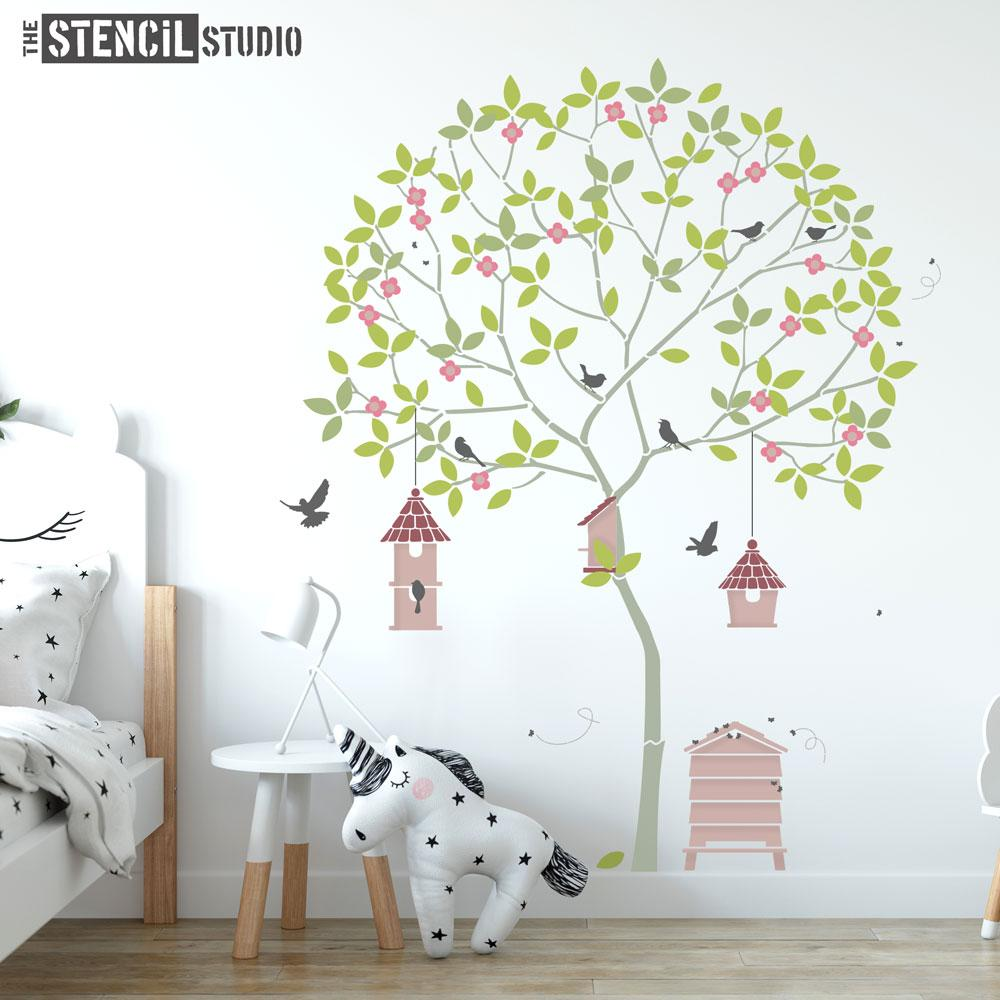 Round Tree with Birds, Birdhouses, Beehive and Bees, a fabulous wall mural stencil from The Stencil Studio - this Size is L