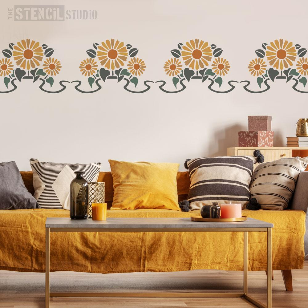 Sunflower Border Stencil