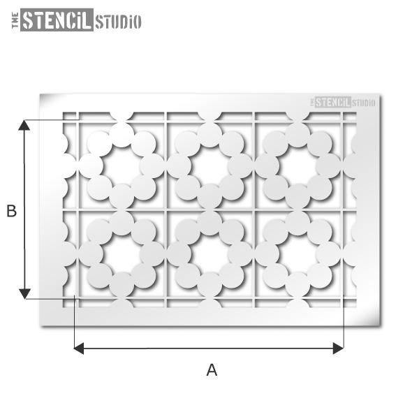 Snowshill tile repeat pattern stencil from The Stencil Studio Ltd
