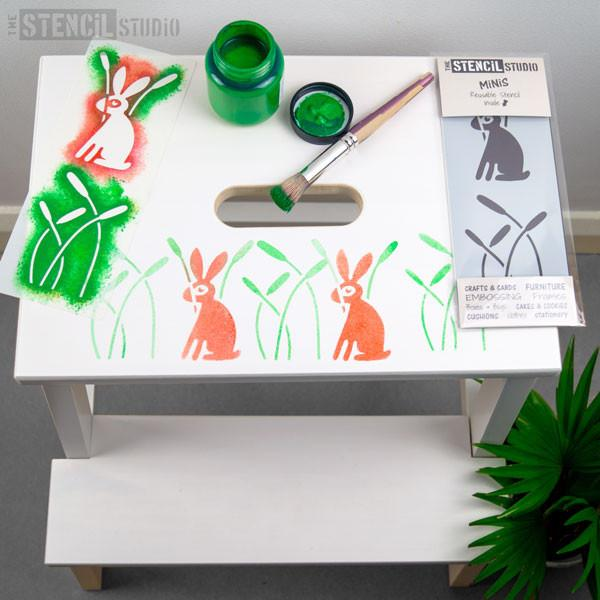 Scandi Rabbit & Reeds Nursery Stencil MiNiS at The Stencil Studio