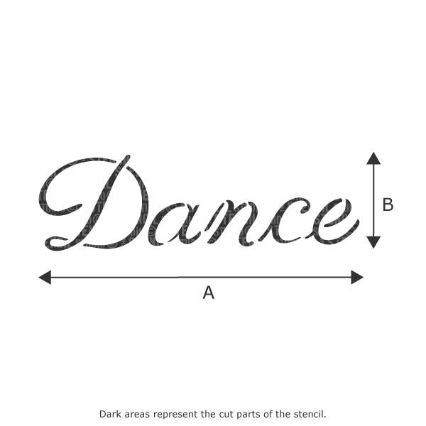 Dance text stencil from The Stencil Studio Ltd