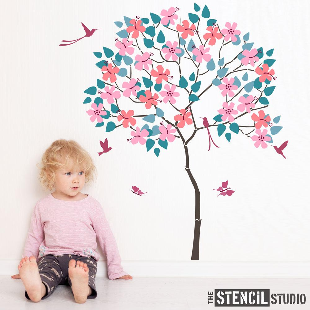 Round Tree with Hibiscus and Humming Birds Stencil Pack