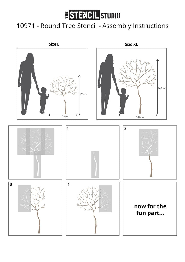 Round Tree with Ginko leaves stencil pack from The Stencil Studio - Instructions for assembling the tree