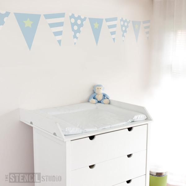 bunting for boys stencil from the stencil studio ltd size M