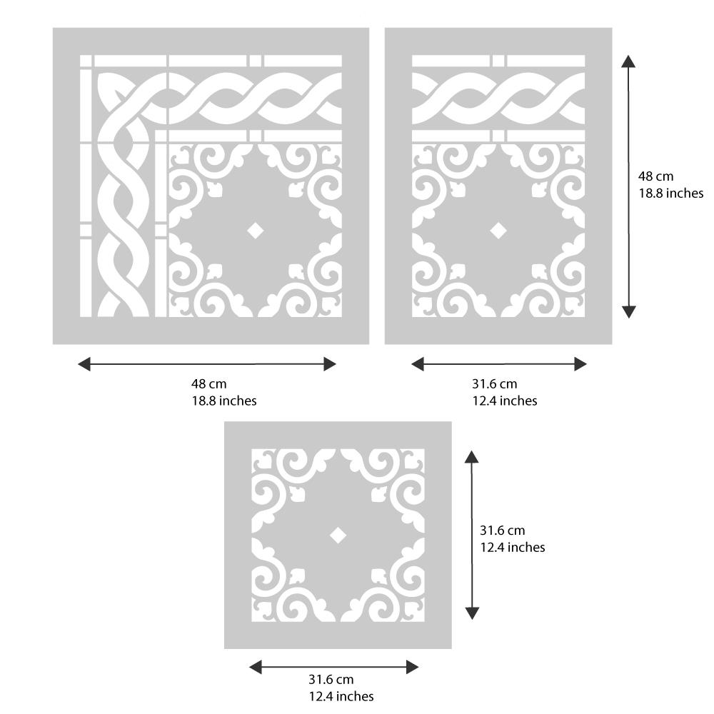 Tetbury Tile Rug Stencil from The Stencil Studio - stencil dimensions