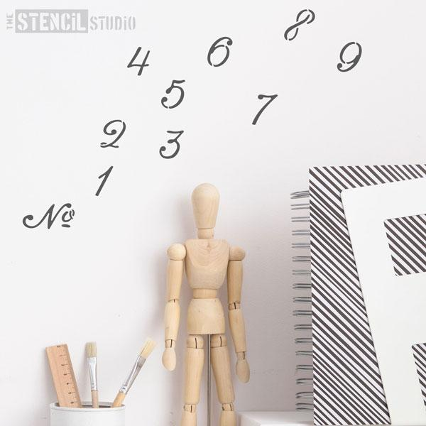 French style font Number set stencil - The Stencil Studio - Size XS