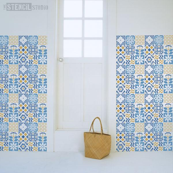 Stroud tile repeat stencil from The Stencil Studio - Size XL