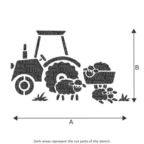 Tractor and Sheep stencil from The Stencil Studio Ltd