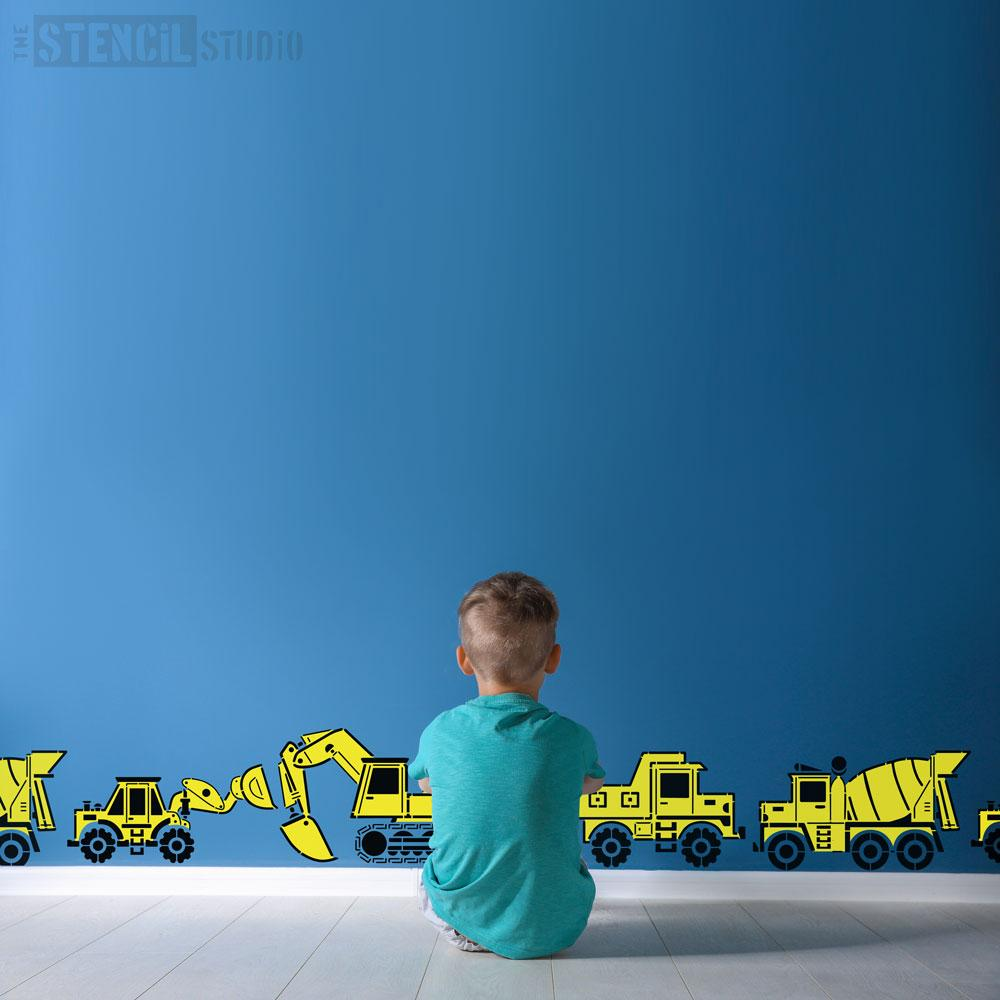 Construction vehicle stencils form The Stencil Studio - Size M/A3