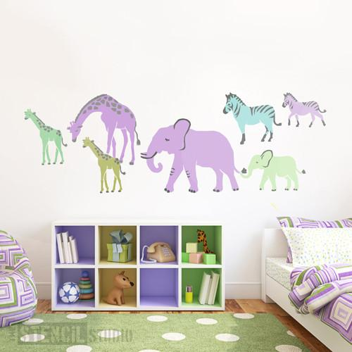 Safari Animals stencil set of Giraffes, Elephants and Zebras - Size XL
