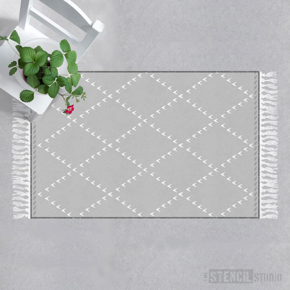 Add a background colour before stencilling - Berber Rug Stencil from The Stencil Studio