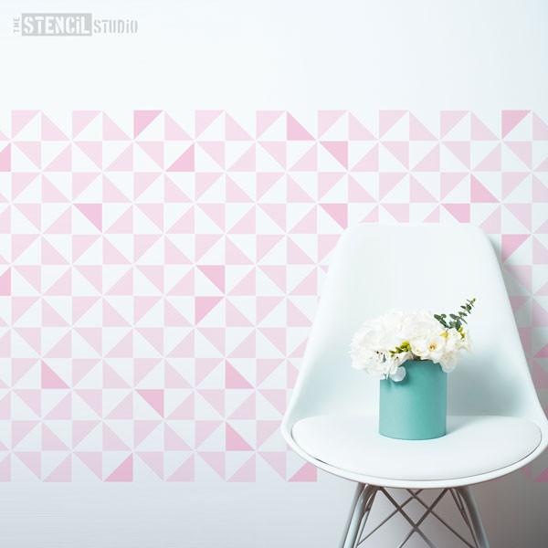 Trisk repeat stencil from The Stencil Studio Ltd, geometric pattern stencil for walls and more - this picture illustrates size L