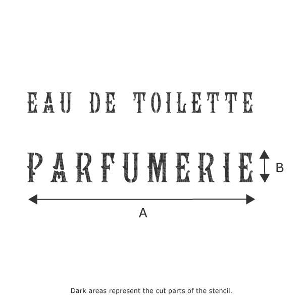 Parfumerie French Vintage Text stencil from The Stencil Studio