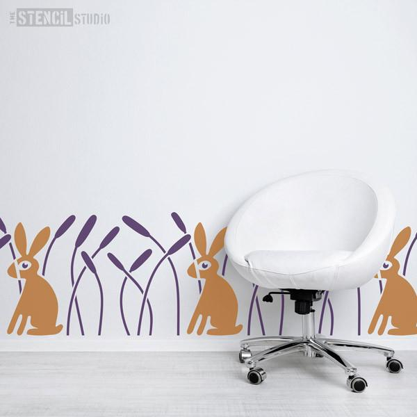 Rabbit in Reeds Border Wall Stencil - Stencil Size XL