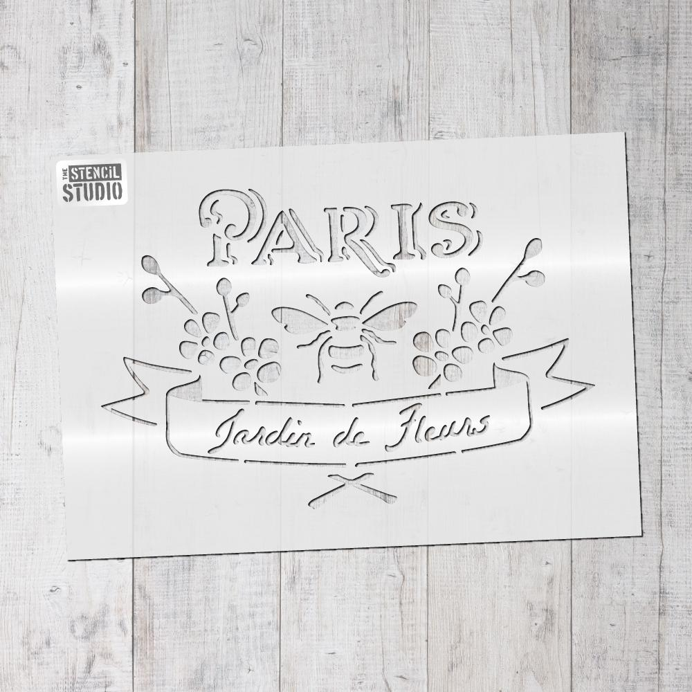 Paris jardin - French vintage label stencils from The Stencil Studio