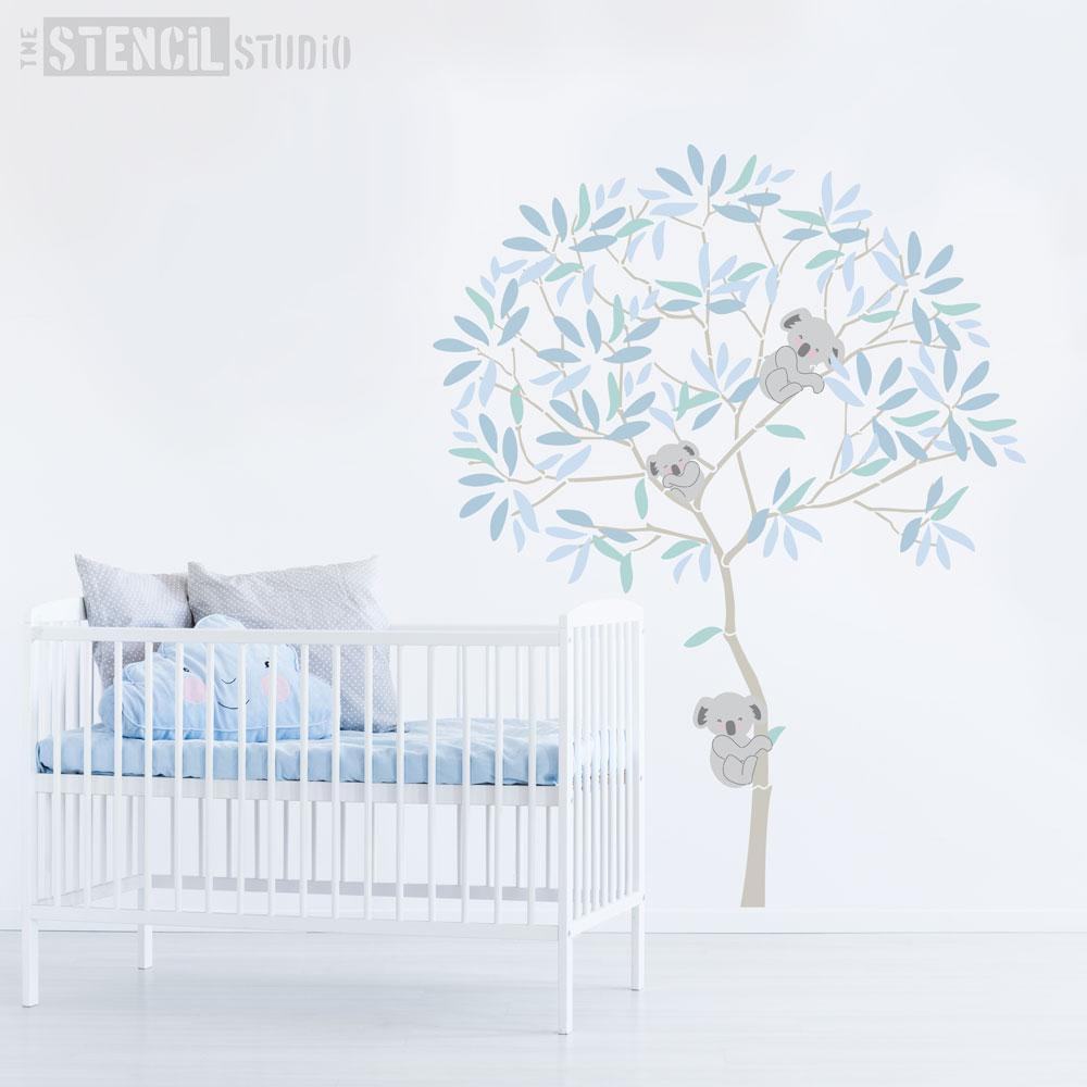 Round Tree with Koalas and Eucalyptus Leaves stencil pack - Size XL