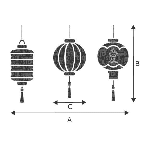 Japanese lanterns stencil - sizes chart, refer to the drop down box for sizes for A, B and C