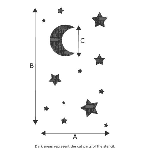 Moon and Stars Children's Nursery Wall Stencil from The Stencil Studio - Stencil Size Chart