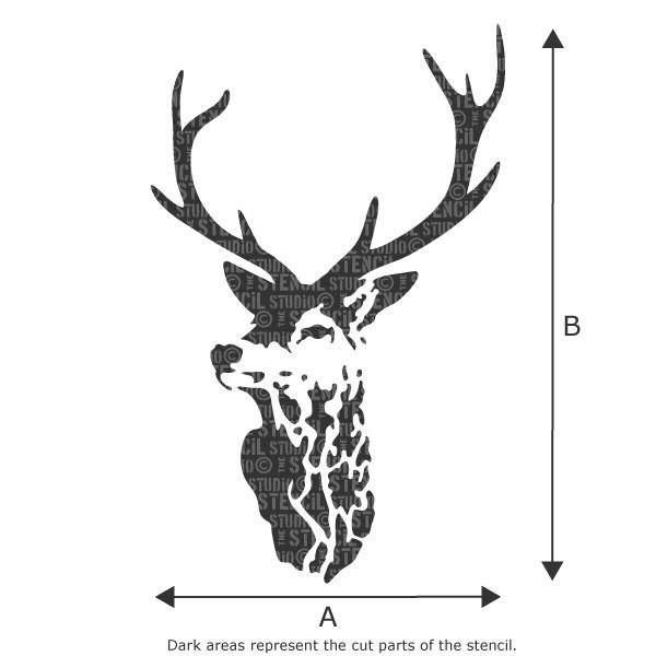 Highland stags head deer stencil - size A x B - see drop down box for measurements. Reusable stencils for home decor and craft stenciling.