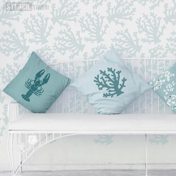 Coralina Coral repeat pattern stencil from The Stencil Studio Ltd - Size XL