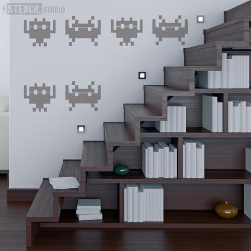 Space Invaders stencil from The Stencil Studio Ltd - Size XL