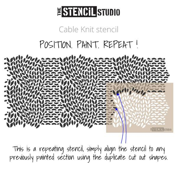 Cable Knit stencil from The Stencil Studio, instructional illustration showing how the stencil repeats by aligning previously painted areas