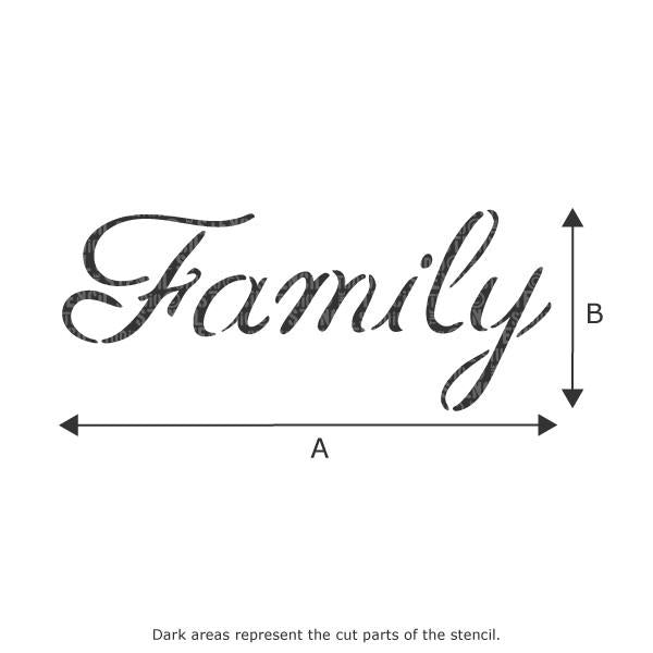 Family text stencil from The Stencil Studio Ltd