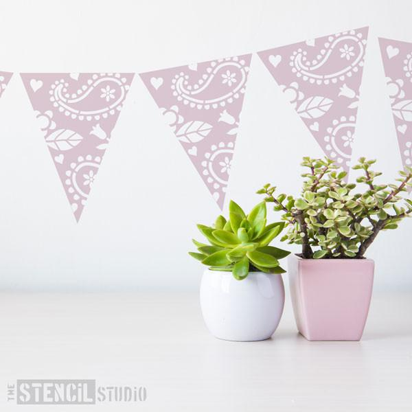 Paisley Bunting stencil from The Stencil Studio Ltd - Size XS
