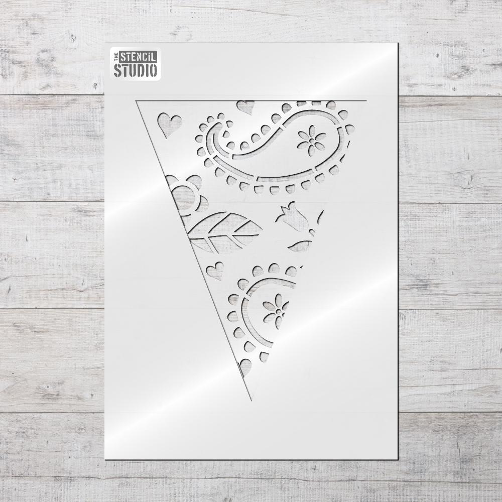 Paisley Bunting Stencil from The Stencil Studio Bunting stencils range