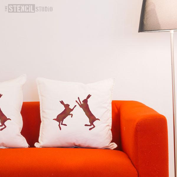 Boxing Hares Stencil from The Stencil Studio - Size S