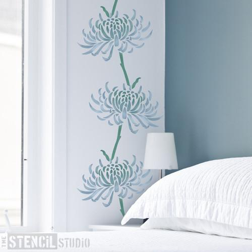 Quill Chrysanthemum Flower stencil from The Stencil Studio Ltd - Size M