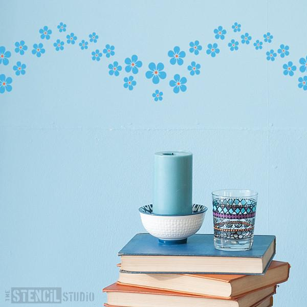 Forget me not border stencil from The Stencil Studio Ltd - Size S