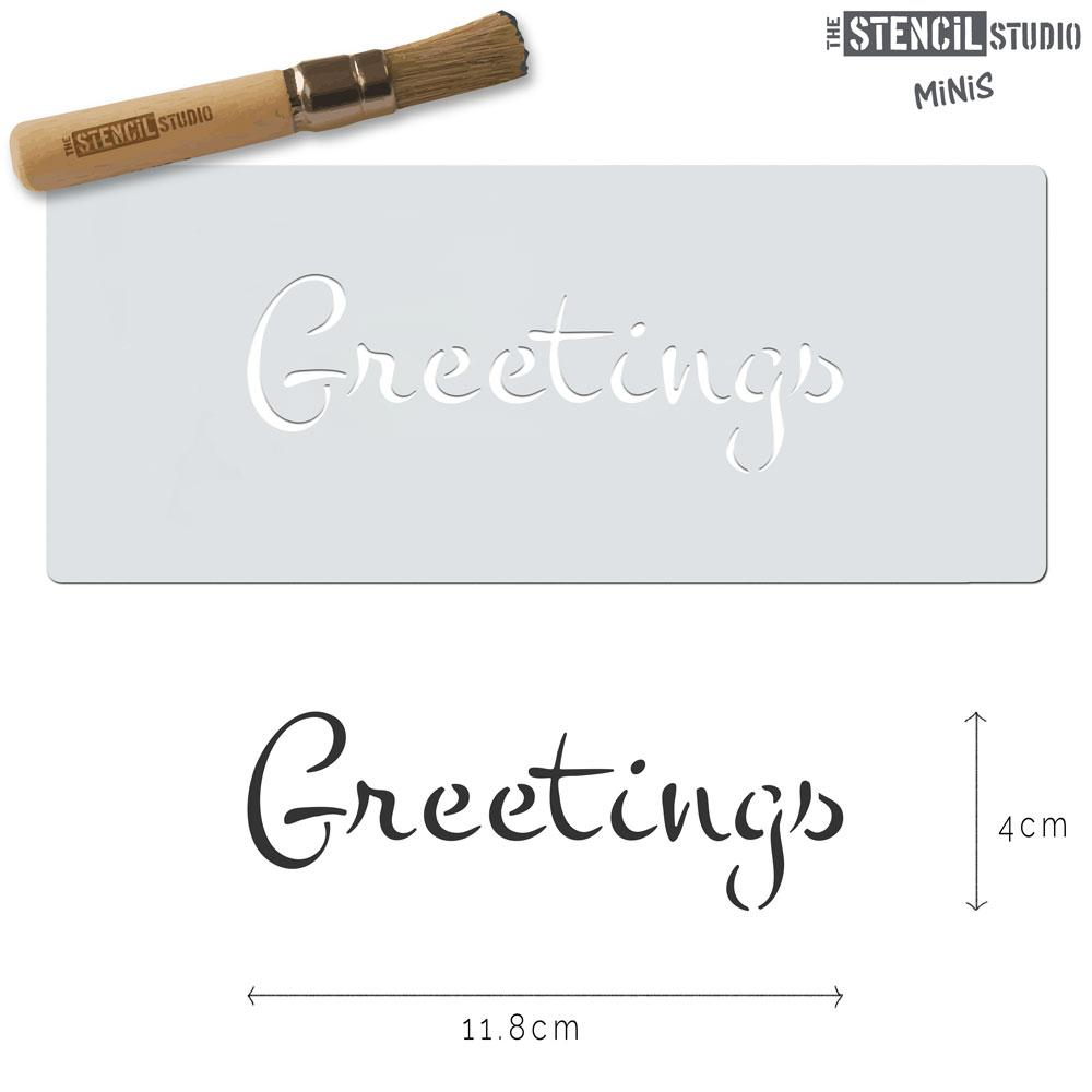 Greetings text stencil MiNi from The Stencil Studio