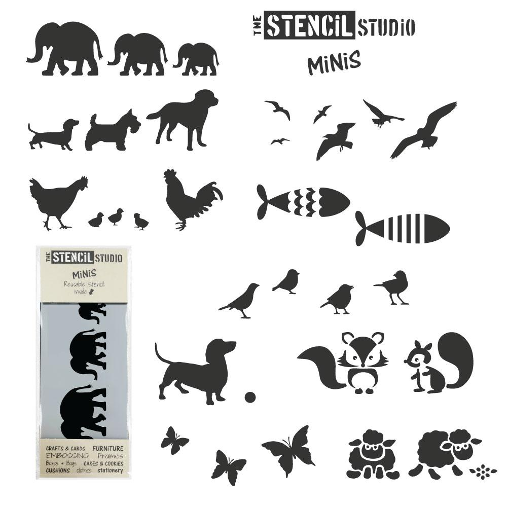 Set of 10 animal Stencil MiNiS from The Stencil Studio