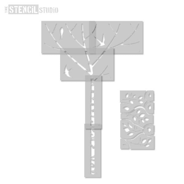 Birch tree and swallows stencil from The Stencil Studio Ltd - all the stencils you need