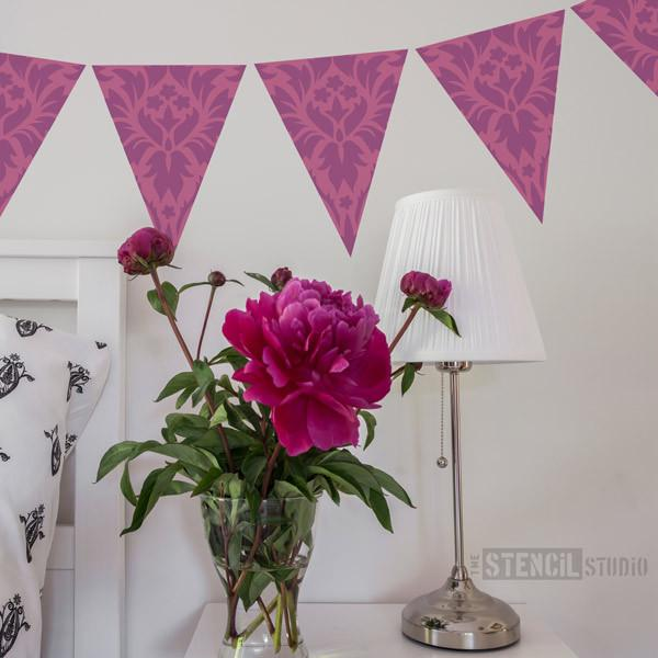 Damask Bunting stencil from The Stencil Studio Ltd - Size S
