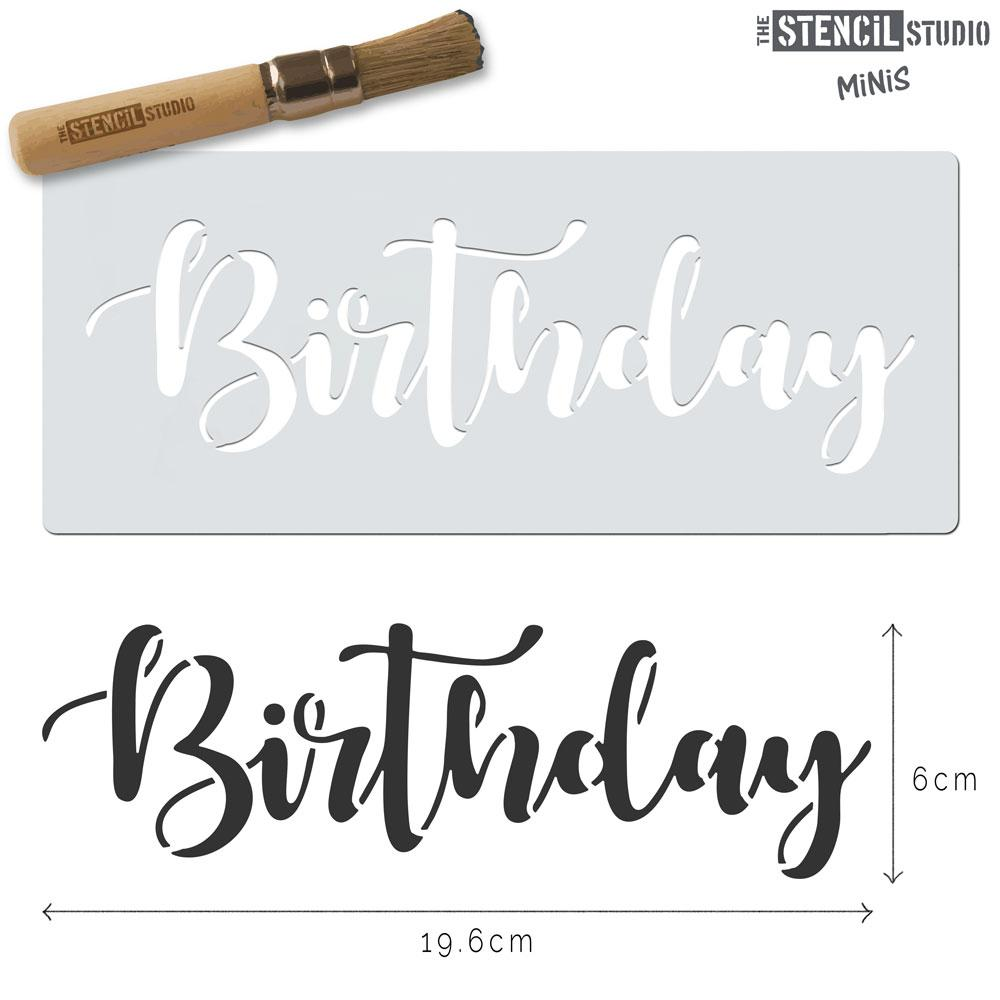 Birthday text stencil MiNi from The Stencil Studio