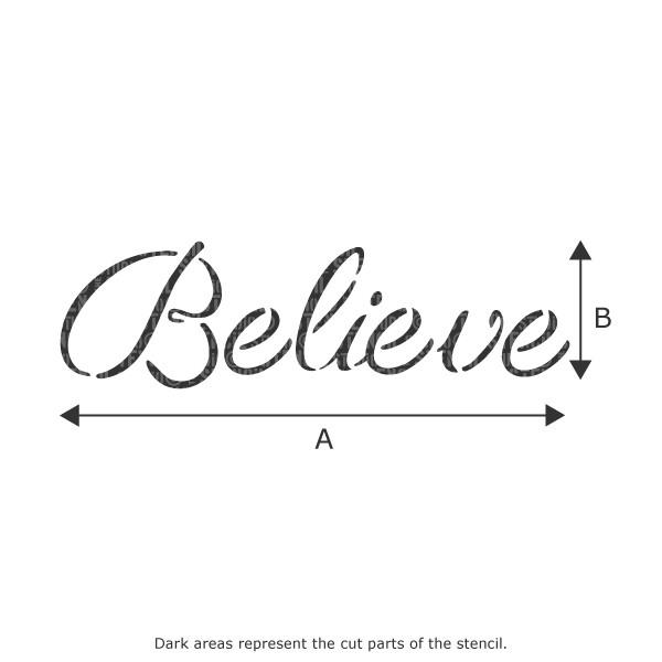 Believe text stencil from The Stencil Studio Ltd