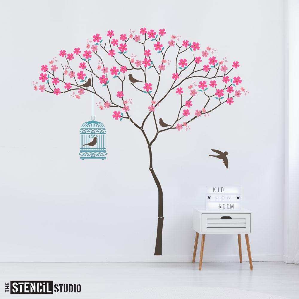 Triangle Tree with Birdcage, Birds and Blossoms from The Stencil Studio Ltd - Size XL