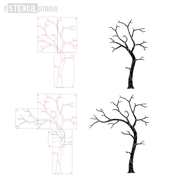 Two trees are possible with this stencil pack, just follow our pictorial instructions
