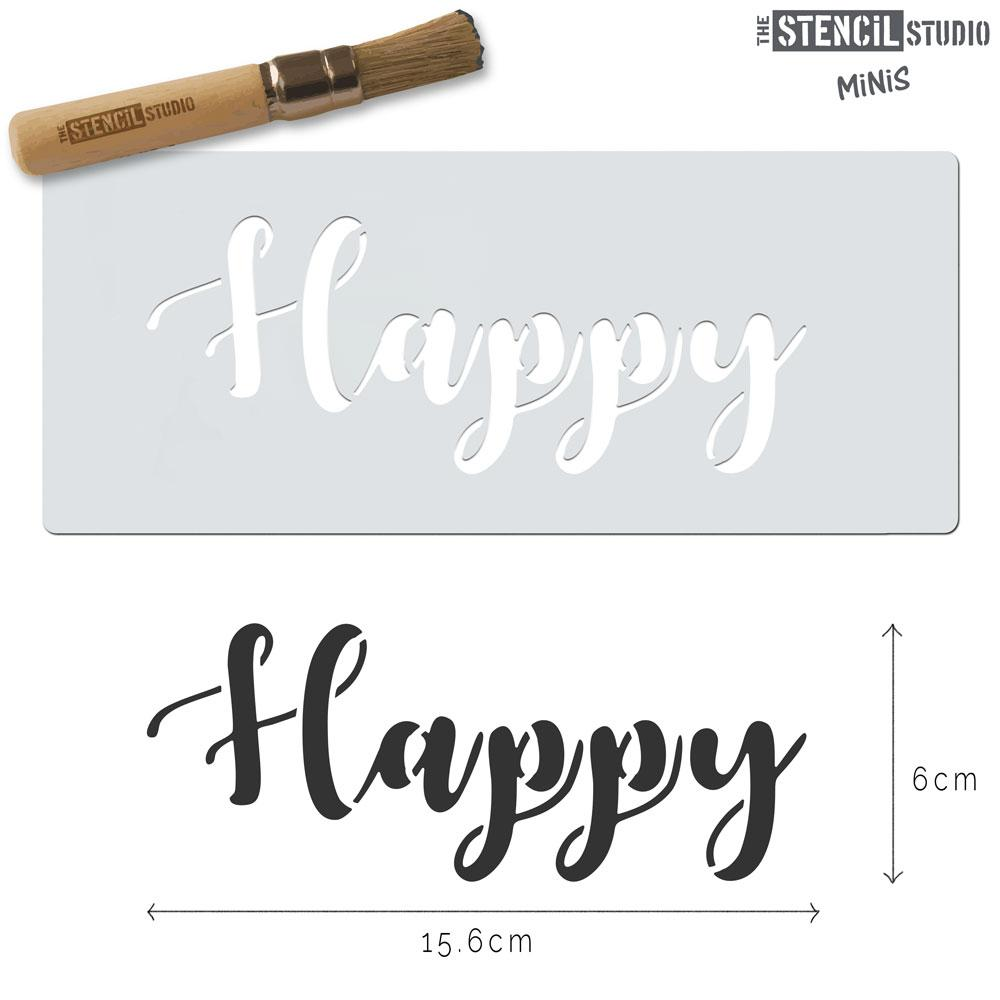 Happy text stencil MiNi from The Stencil Studio