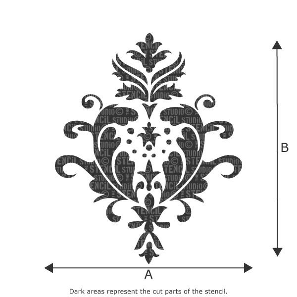 acanthus damask stencil from the stencil studio ltd size