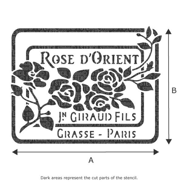 Rose d'Orient vintage French perfume label stencils from The Stencil Studio