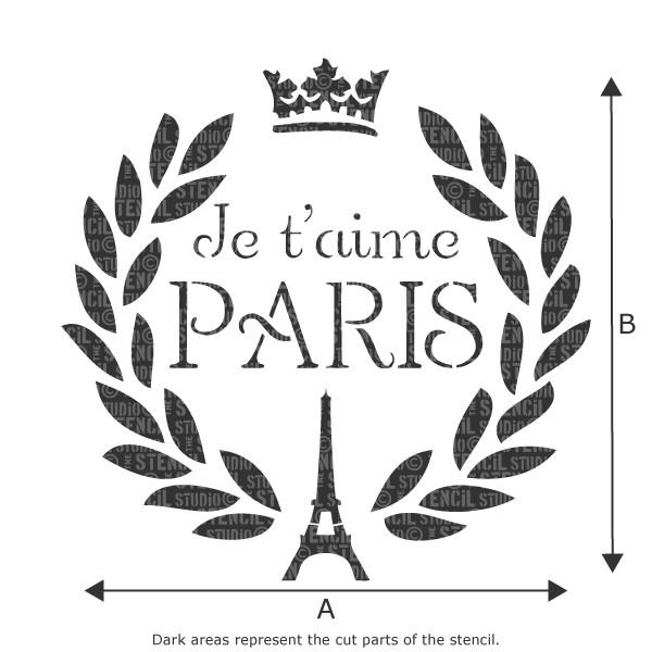 Je T'aime Paris stencil from The Stencil Studio Ltd