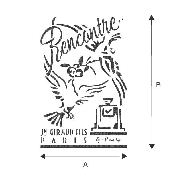 Recontre French Vintage Perfume label stencil