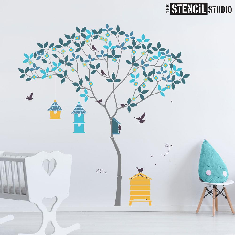 Triangle Tree with Birds and Bees stencil pack - everything you need to create this beautiful tree wall mural - Size XL
