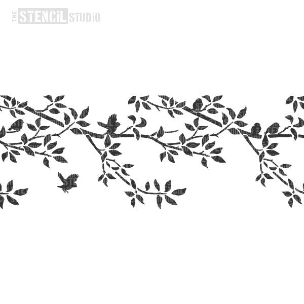 Burford Branch Border stencil with birds from The Stencil Studio Ltd - Repeated