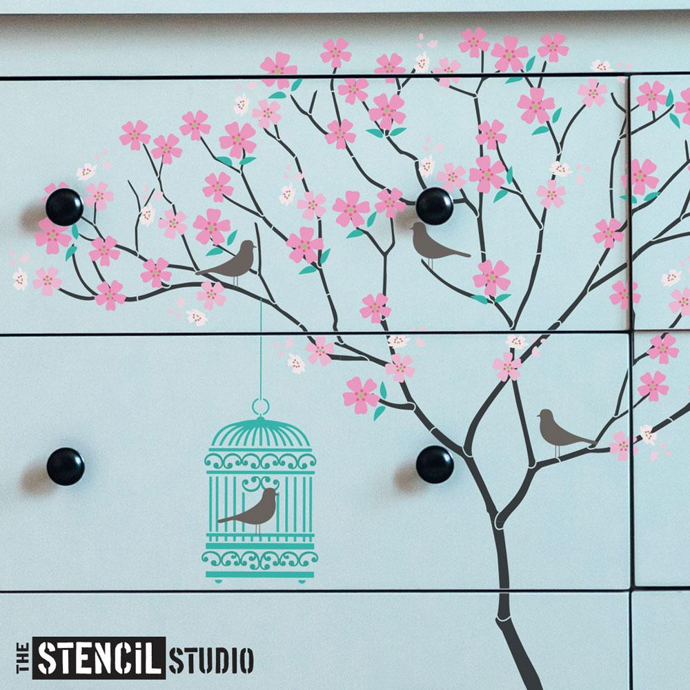 Triangle Tree with Birdcage, Birds and Blossoms from The Stencil Studio Ltd - Size L